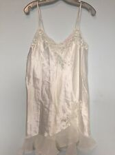 Oscar De La Renta Silky Slip Nightgown Lace Chemise Pearl Bridal Nightie Size M
