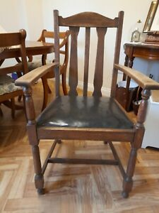 Vintage Antique Oak Barley Carver Arm Desk Chair Armchair Slatted Back vinyl