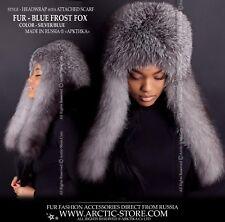 Blue Frost Fox Fur Hat Headwrap Headband with attached fur scarf New Fashion