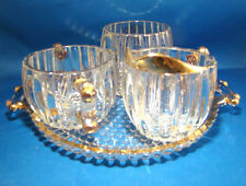 Jeanette Clear Hobnail Sugar Bowl Creamer Spooner & Tray 4 Piece Ribbed @9B