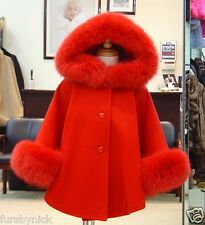 Children's Red Cashmere Hooded Coat With Fox Fur Trim Beautifully Canadian Label