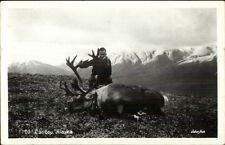 Caribou Hunting in Alaska Real Photo Postcard