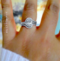 925 Sterling Silver Ladies 3 piece Halo Wedding Engagement Ring Set