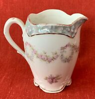 Cream Pitcher, Bavarian, Z. S. & Co, Gold Trim, Deliciate Floral Design