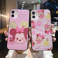 Tempered Glass Hot Cute Cartoon Fashion Women Girl Case Cover For Various Phone