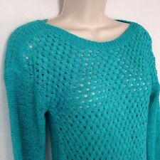 Soft Surroundings Woven Tunic Sweater XS Aqua Long Sleeve Lightweight Open Knit