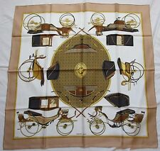 """AUTH HERMES SIGNED LA PERRIERE """"LES VOITURES A TRANSFORMATION""""  SILK SCARF"""