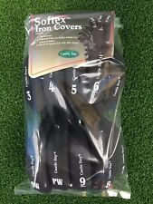 10 Castle Bay Golf Softex Left Handed Iron Club Head Covers Black 3-9 PW SW NEW