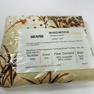 Sears Twin Sheet Set Vintage Brown Tan Windwood NEW NOS Pillowcase Flat Fitted