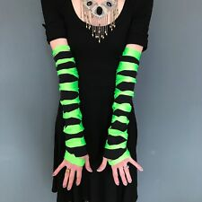 Mens Cut Out Gloves Green Arm Warmers Black Sleeves The Grinch Costume Cybergoth