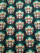 Custom 100% Woven Cotton The Child Starbucks Baby Yoda Ready To Ship! Per yard