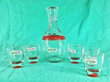 Linea Quattro Bar Set Clear Decanter Five Shot Glasses Made in Italy