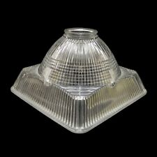 Vintage MCM Art Deco Holophane Industrial Square Shade Lamp Globe Ribbed Glass
