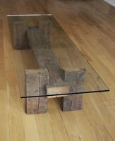 Rustic Driftwood Industrial  beam Glass coffee table wooden