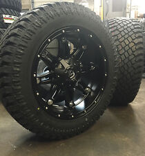 """20"""" 20x10 Fuel Hostage Black Wheels 33"""" AT Tires Package 6x5.5 Chevy GMC 6 lug"""