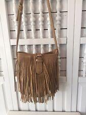 Bohemian, brown cross body purse, fringed, snaps, zips, pockets, round bottom