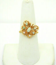 #8965 - Beautiful 14k Gold colorful Opal Butterfly Ring - Size 7.25