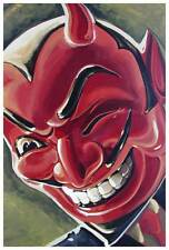 Devilish Grin by Mike Bell Tattoo Art Print Red Devil Halloween Mask