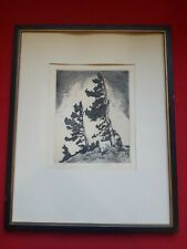 Original Art by Lyman Byxbe Signed Etchings, Pencil Drawing Windblown Framed