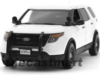 2015 FORD POLICE INTERCEPTOR UTILITY CAR SLICK TOP WHITE 1:24 BY MOTORMAX 76960