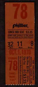 1970 Philadelphia Phillies vs Expos 10/1 Ticket Stub Final Game  C Mack Stadium