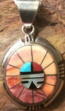 Native American Sterling Zuni Sunface Pendant Orange and Purple Spiny Oyster