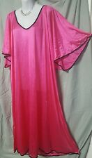 ABOVE ANKLE LENGTH  SEXY & COMFORTABLE HOT PINK  TRIM NIGHTGOWN SIZE 3X