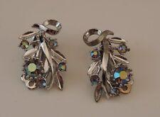 Vintage 1950's Silver Flower Aurora Borealis AB Rhinestone Clip Earrings 5b 40