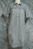 Duluth Trading Womens sz M Blue White Striped Pockets Denim Pullover Shirt Dress
