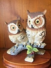 Vintage ANDREA by SADEK Owl Owls Barn Hoot Screech on Limb Figurine ▬ 8/8 ❤️m17