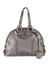 YSL Yves Saint Laurent Mini Muse Satchel Bag Gunmetal Leather Metallic Silver