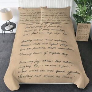 Brown Letter Love Quote Romance King Queen Twin Quilt Duvet Pillow Cover Bed Set