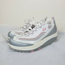 Sketchers Shape ups Womens Walking Shoes Sneakers Lace Up Gray Pink Sz 8.5