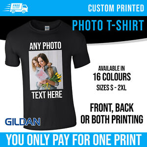 Personalised Custom Printed Photo T Shirt Gildan T-Shirts Men Stag Charity DTG