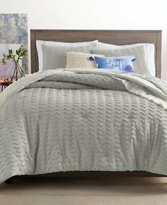 Martha Stewart 2 Pc Full/Queen Comforter Set Whim Chevron Chenille Grey E96075
