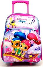 "Nickelodeon Shimmer And Shine 16"" Canvas Pink & Purple School Rolling Backpack"