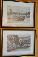 Rare Pair of Vintage Fishing Prints Wood Framed Glass Complete Strings Good Orig