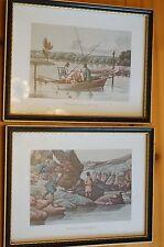 RARA COPPIA di stampe vintage di pesca in legno con struttura in vetro completo Stringhe buona ORIG