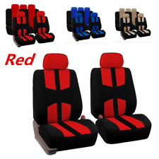 Universal Polyester fabric Full Set of Red & Black Car Seat Covers Racing Style