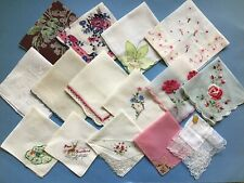 Vintage Lot Of 15 Hankies Handkerchiefs Floral Crochet Sheer Some NWT