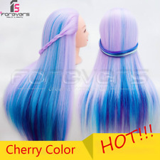 24'' Hairdressing Training Head Color Hair Styling Mannequin Doll Cherry Color
