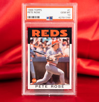 PSA 10 GEM MINT 1986 Topps PETE ROSE #1 | POP 78 | REDS HOF | RARE | Hit King