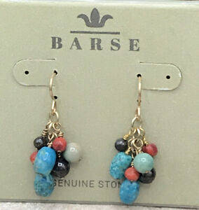 Barse Fiesta Cluster Earrings- Mixed Stones & Bronze- New With Tags