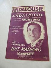 Partition Andalousie Luis Mariano Francis Lopez Opérette