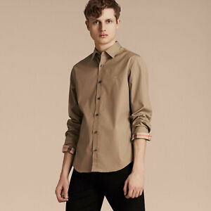 new BURBERRY Ellister Long Sleeves Check Cuffs Soft Flannel Shirt in Dark Honey