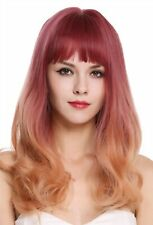 Wig Women's Wig Long Fringe Smooth Curly Points Purple Orange Blonde Balayage