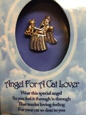 Wings & Wishes Angel For A Cat Lover Gold & Silver Tone Pin NEW In Nice Gift Box