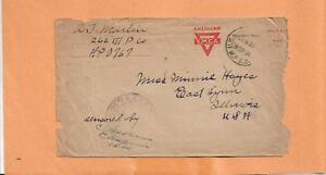 WW I U.S MILITARY COVER APO 767 AMERICAN YMCA CENSORED