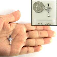Elegant Cocktail Cup Design 14k Solid White Gold Diamond Pendant Charm TPJ