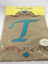 "Evergreen Burlap Teal Monogram ""T"" Decorative Garden Flag  12"" X 18"""